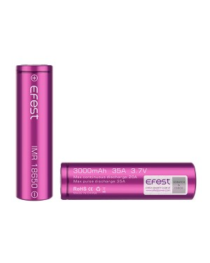 Efest  18650 3000mAH 35A  with Plastic case rechargeable battery (Max Continuous Discharge rate 20A)